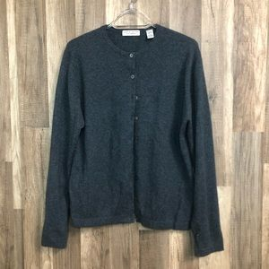Lord & Taylor two ply cashmere cardigan L